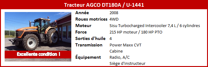 Tracteur AGCO DT180A